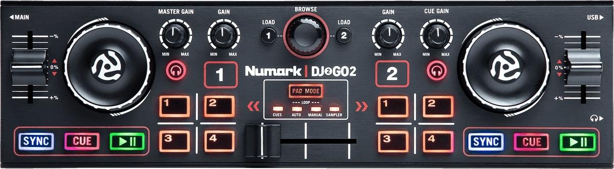 Numark - DJ2GO2 Contrôleur 2 voies ultra compact + carte son