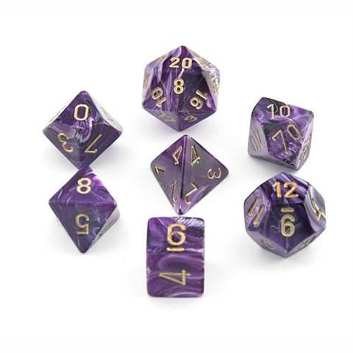 Boite de Set de 7 dés Gemini - Violet et blanc