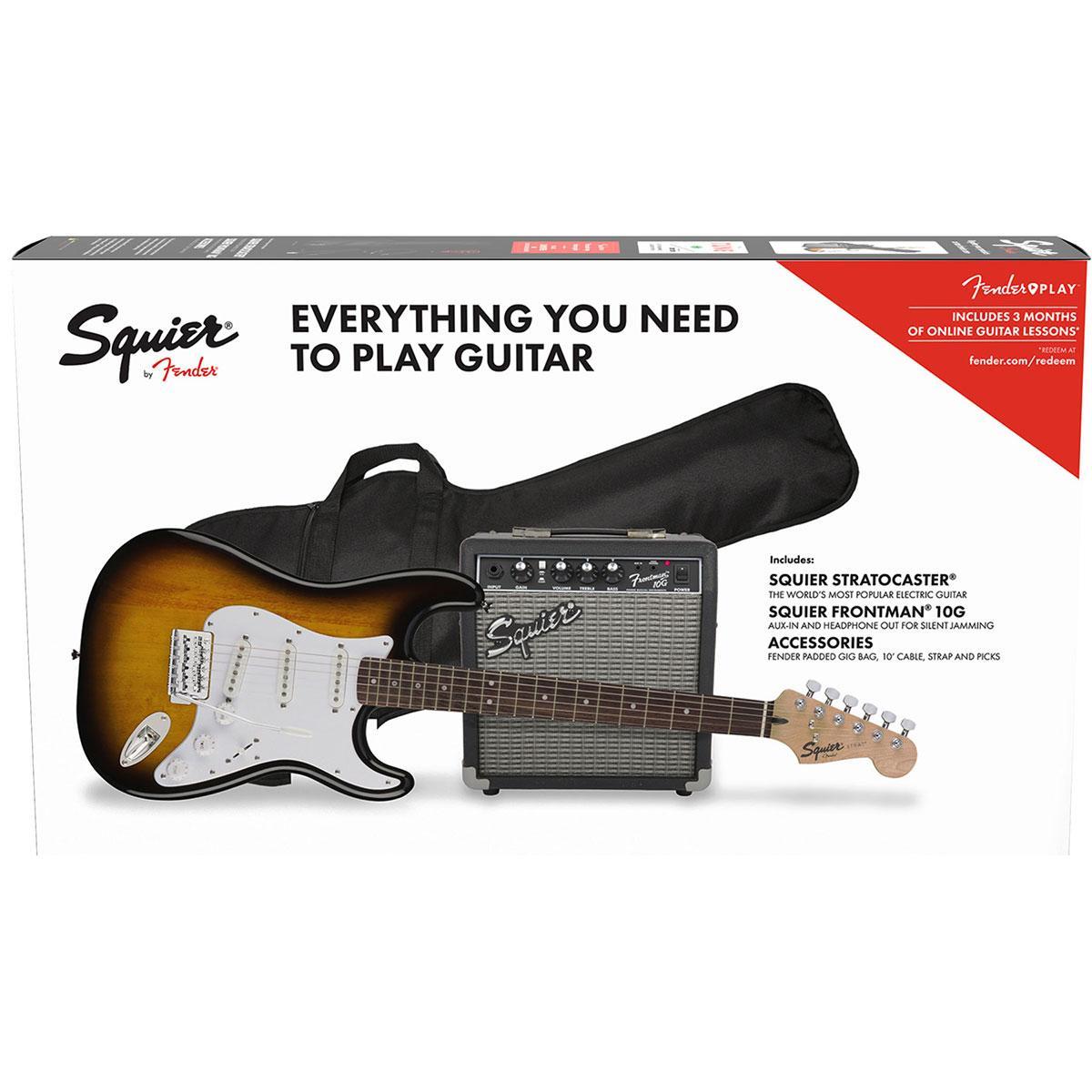 Squier - Pack Stratocaster brown sunburst + combo Fender Frontman 10G