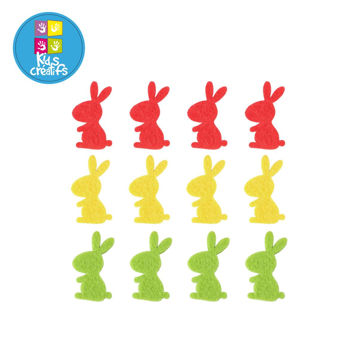 12 lapins autocollants en feutrine - jaune, rouge et vert