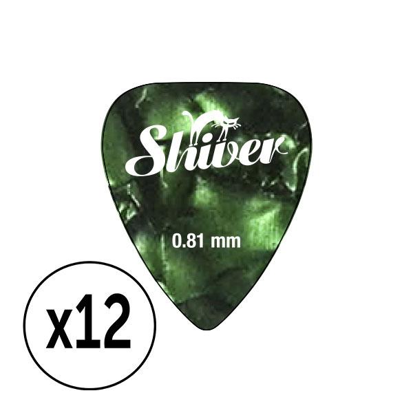 Shiver - 12 médiators celluloid 0.81 vert