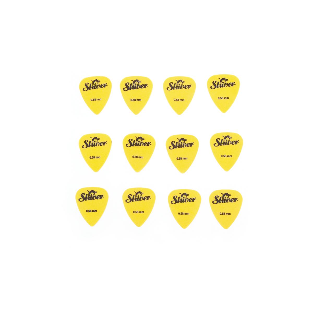 Shiver - 12 médiators nylon 0.58 jaune