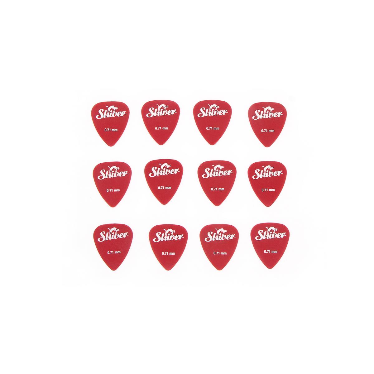 Shiver - 12 médiators nylon 0.71 rouge