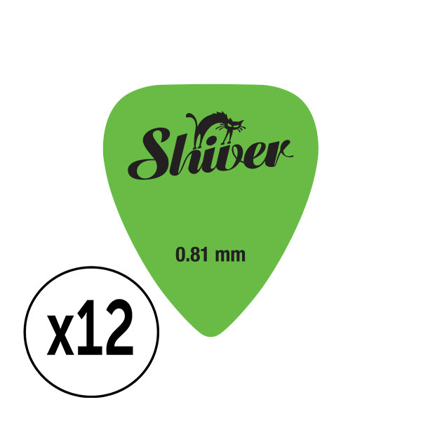 Shiver - 12 médiators nylon 0.81 vert