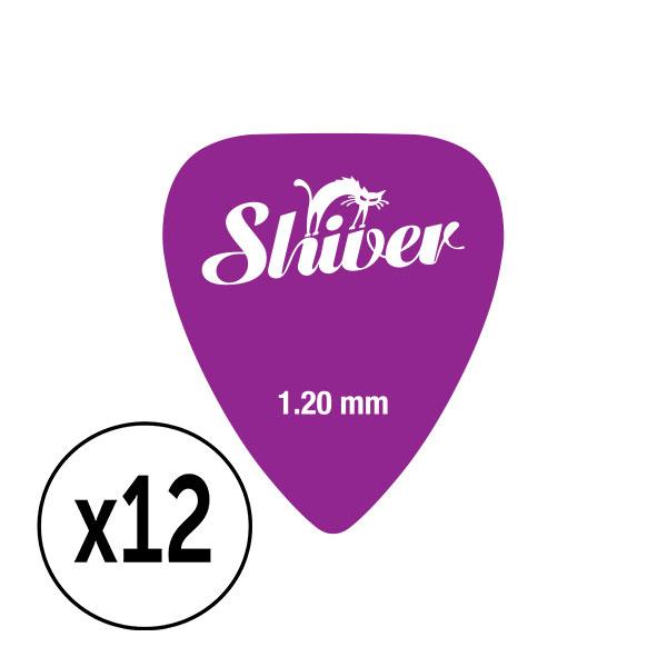 Shiver - 12 médiators nylon 1.20 violet