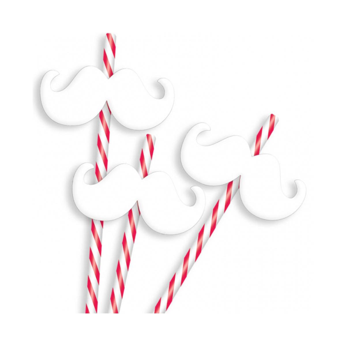 12 pailles moustaches Noël