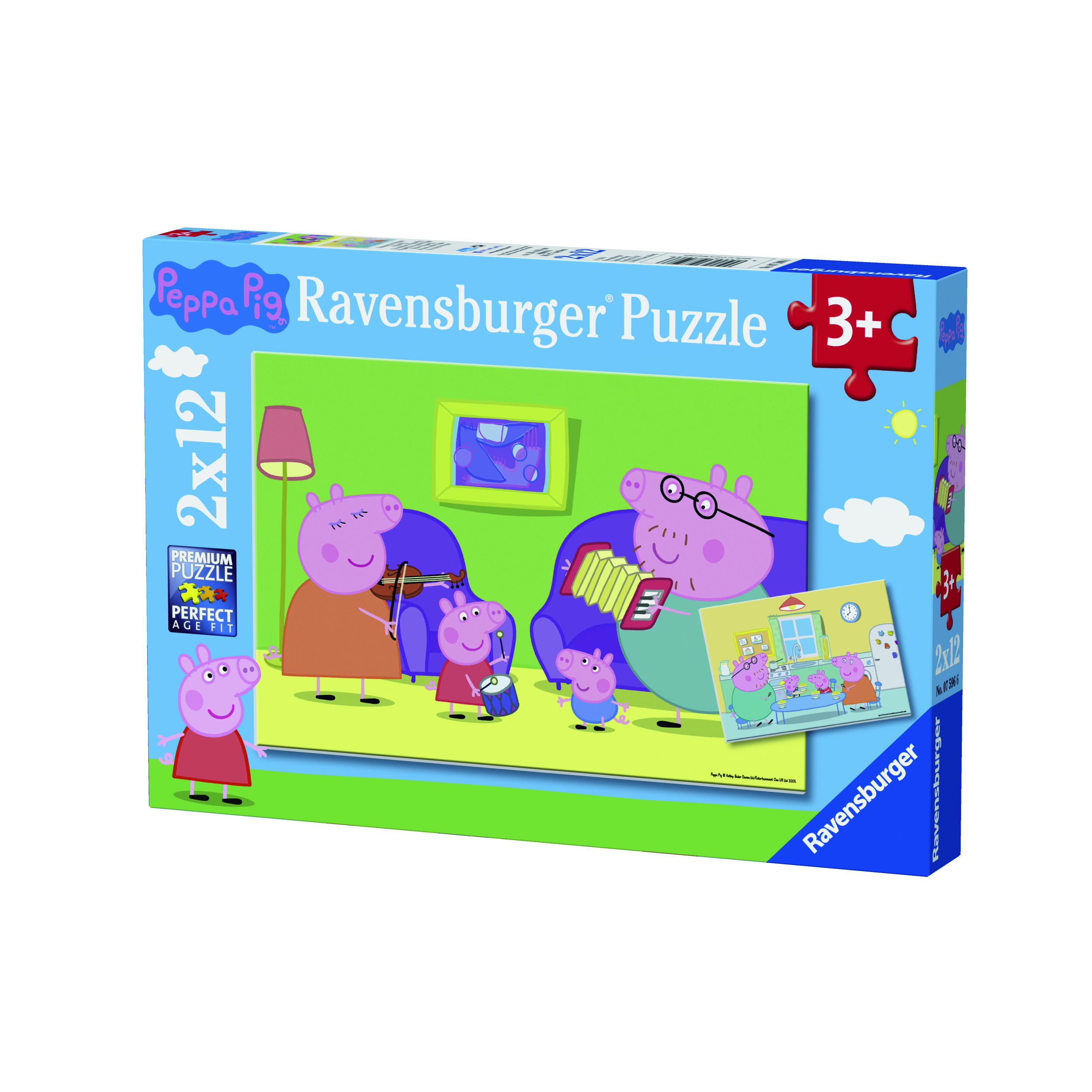 Puzzle 2x12 pièces - Peppa Pig à la maison - Ravensburger