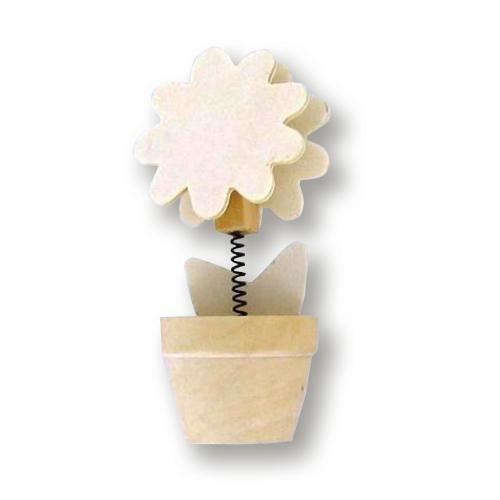 Clip mémo bois sur ressort pot de fleur