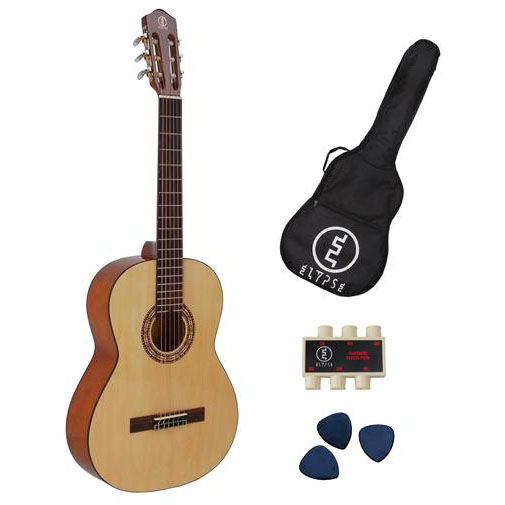pack guitare classique 4-4 primera avec accordeur a clip-etui de transport-3 mediators by ms2005