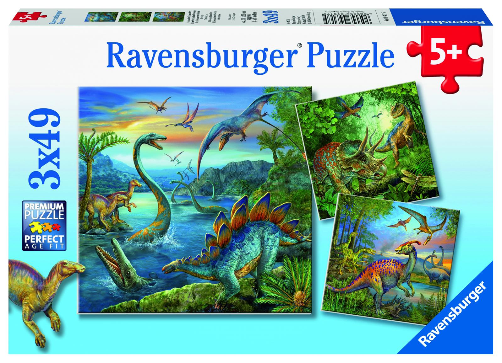 Puzzle La fascination des dinos - 3 x 49 Pièces