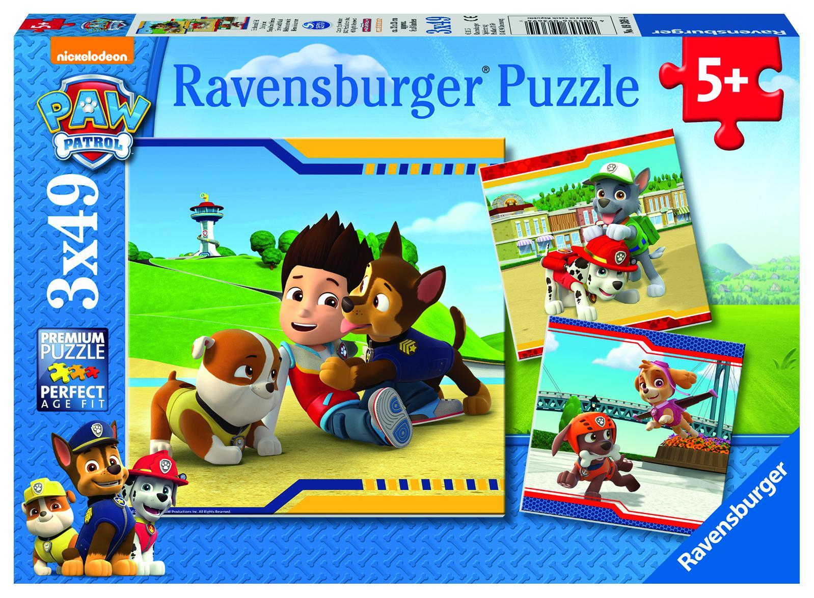 3 Puzzles 49 pièces - Héros à fourrure - Pat'Patrouille  - Ravensburger