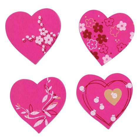 8 embellissements coeurs roses