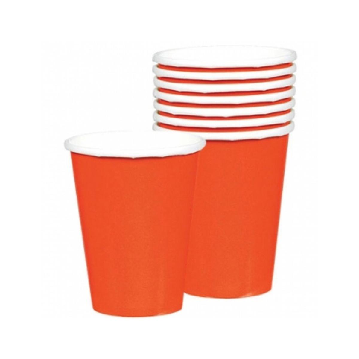 8 gobelets unis orange