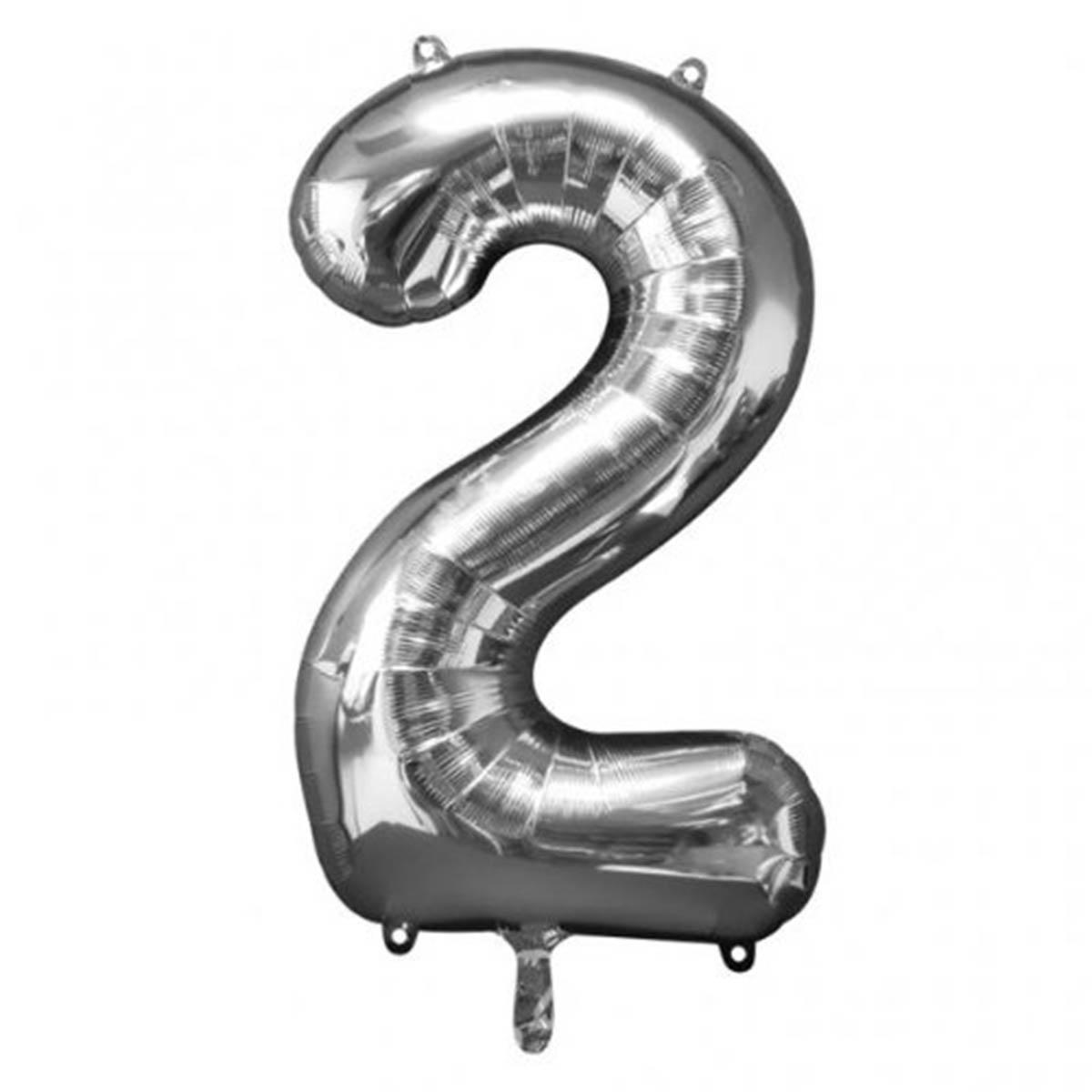 Ballon hélium chiffre 2 Argent