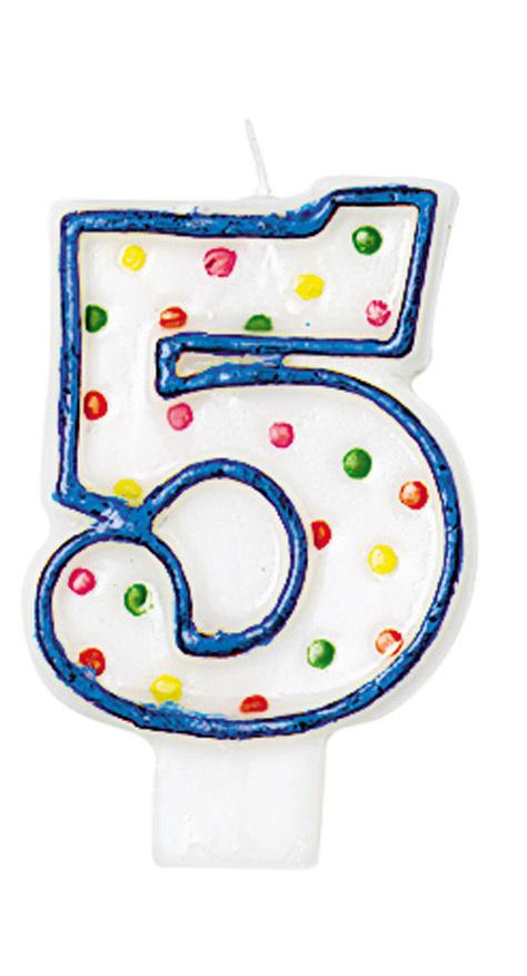 Bougies à pois chiffre 5