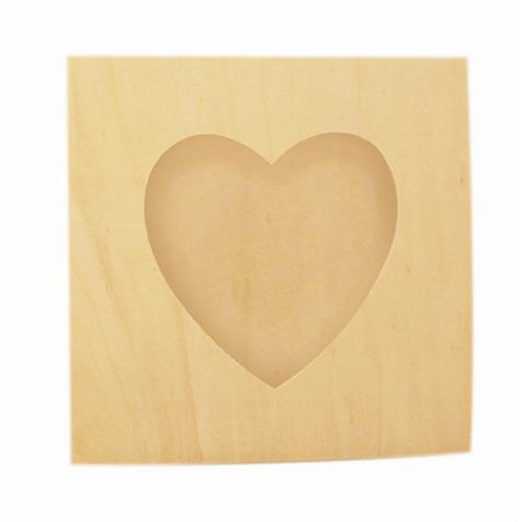 Cadre photo en bois - Carré avec découpe cur