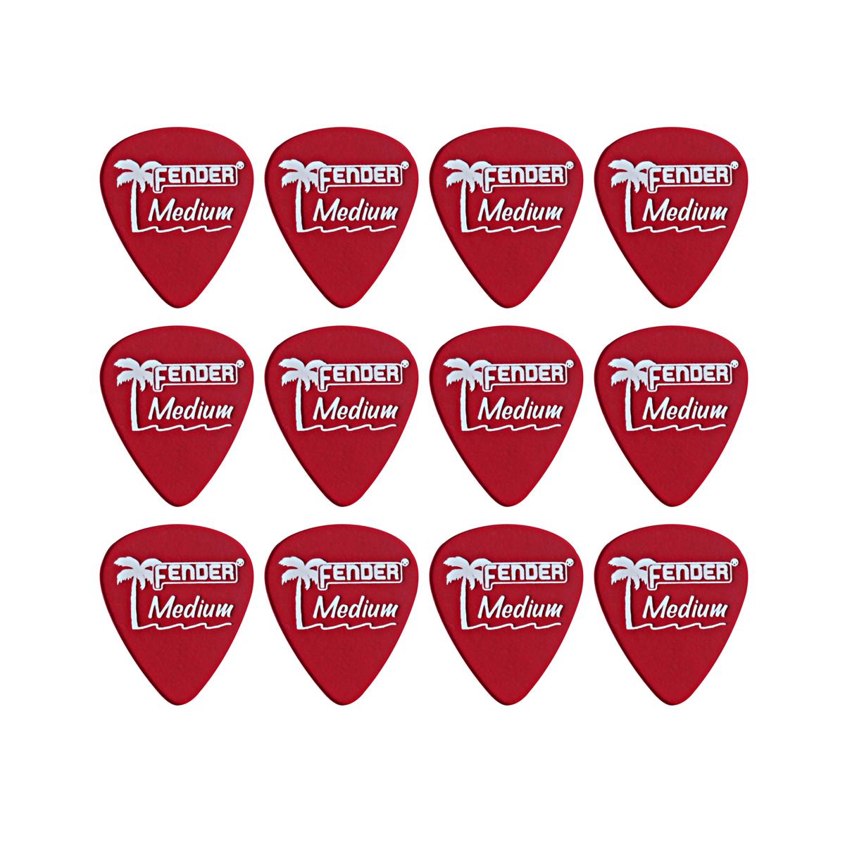 Fender - 12 mediators Medium - Candy apple rouge