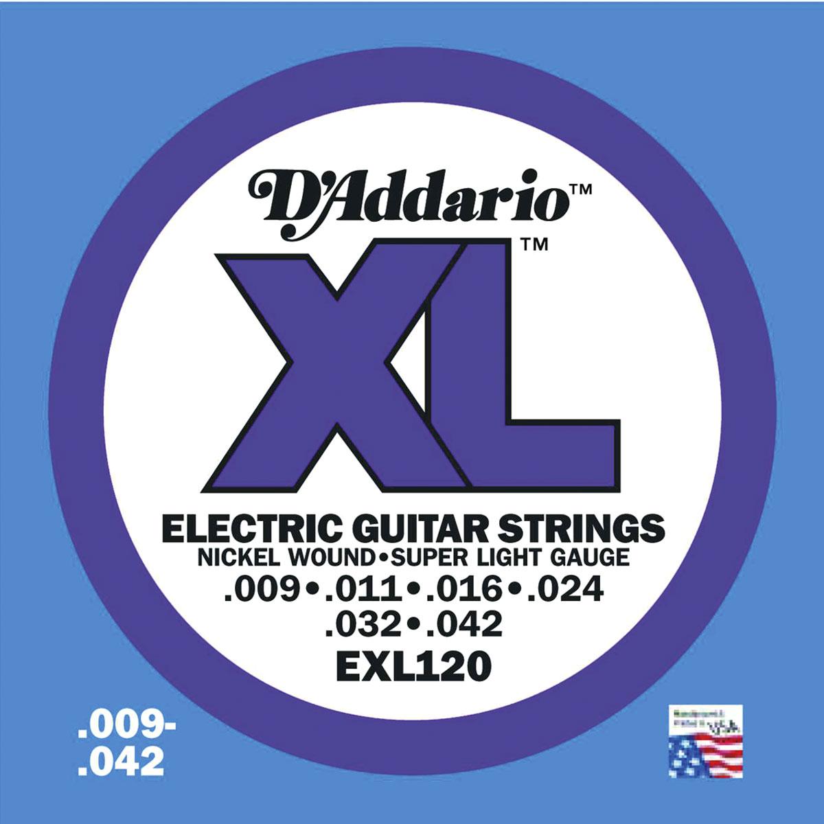 D\'Addario - Jeu de cordes - EXL120 SUPER LIGHT 9 11 16 24 32 42
