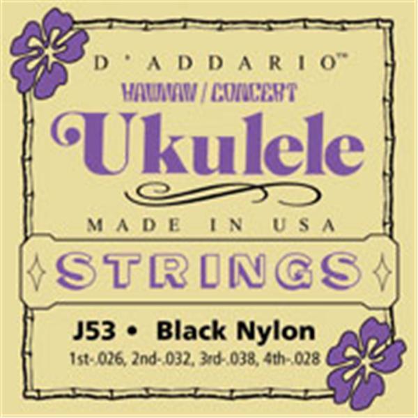 D\'Addario - J53 pour Ukulélé Concert - Nylon Noir