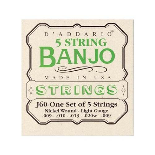D'Addario - Cordes pour banjo - acier nickelé - light