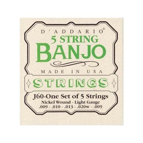 D\'Addario - Jeu de cordes Nickel pour Banjo J60 - Light - 9-20