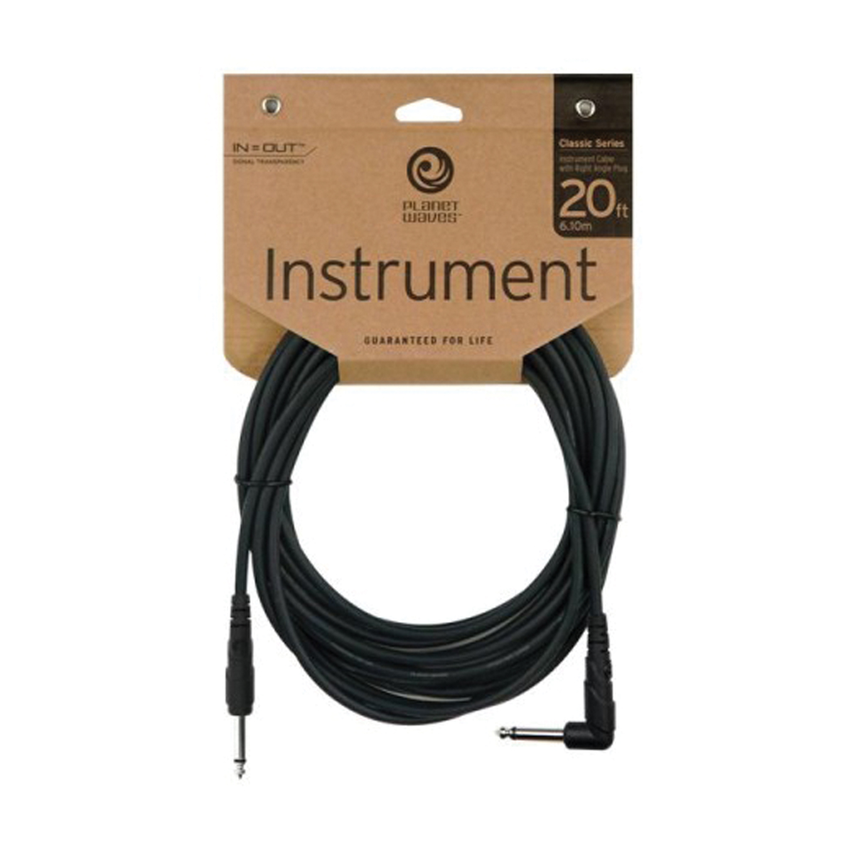 Câble Planet Waves CGTRA20 - jack coudé/jack - 6m