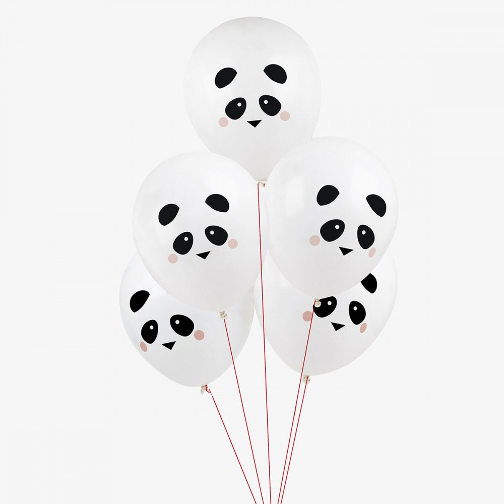5 Ballons De Baudruche Imprimes Mini Pandas My Little Day