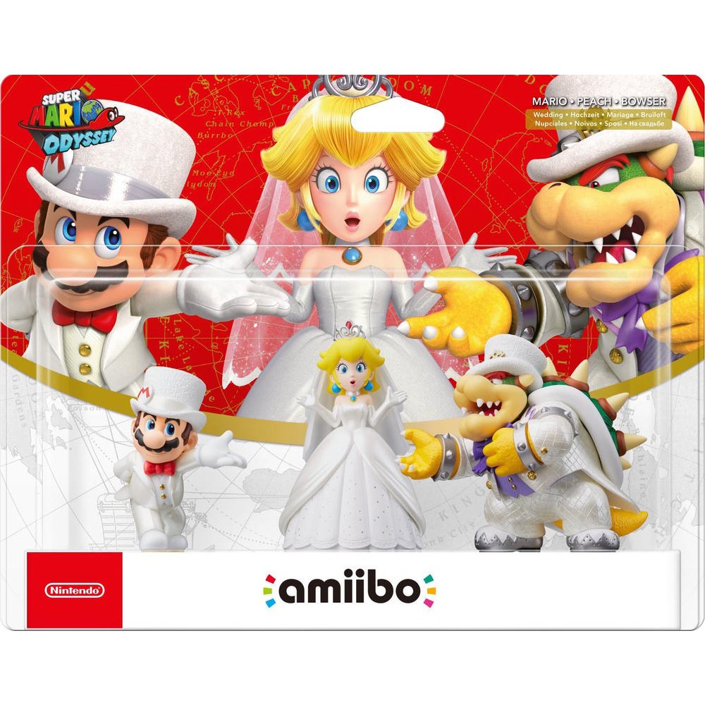 Amiibo Pack 3 Personnages Mario Peach Bowser Costume