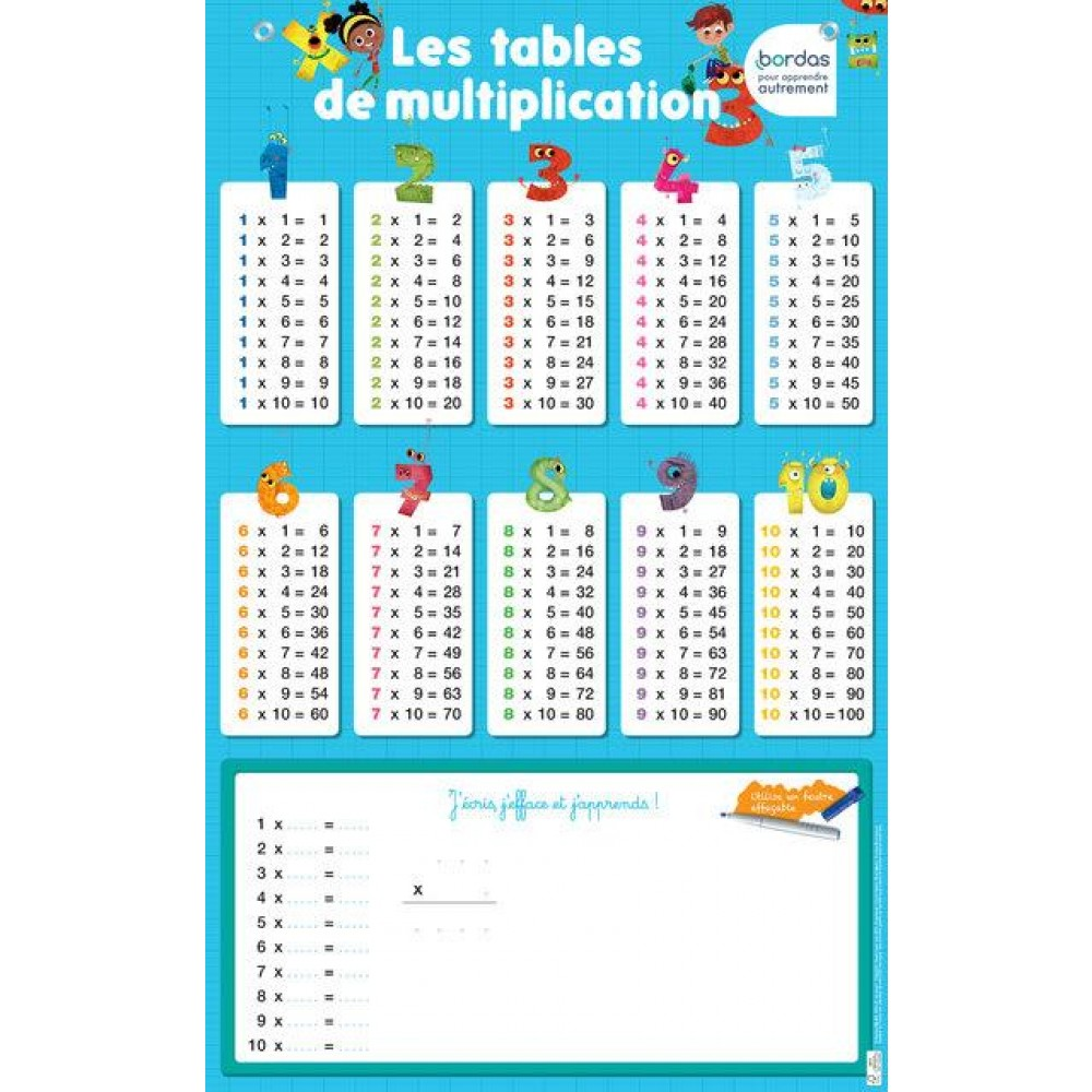 Poster les tables de multiplication livre maternelle for La table de 6 multiplication