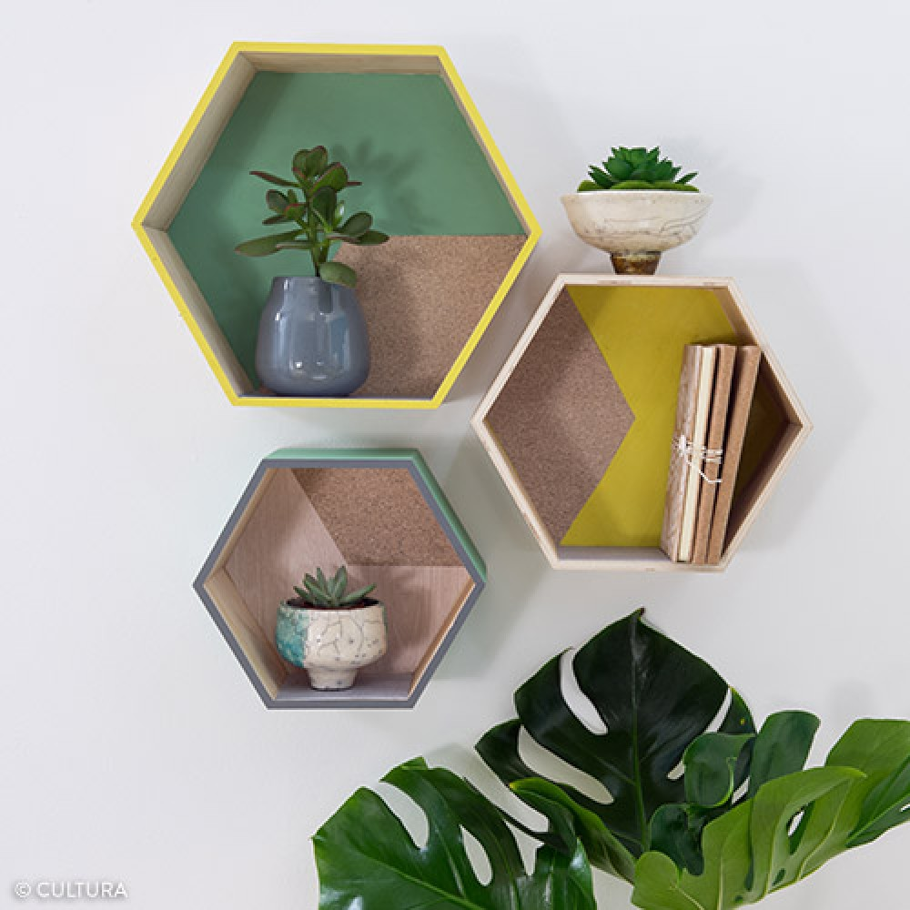 3 tag res hexagonales en bois loisirs cr atifs supports for Decoration murale hexagonale