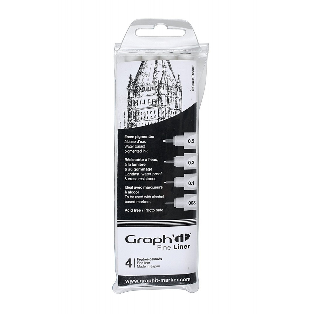 Graph/'it Pochette de 6 Fine Liners noirs