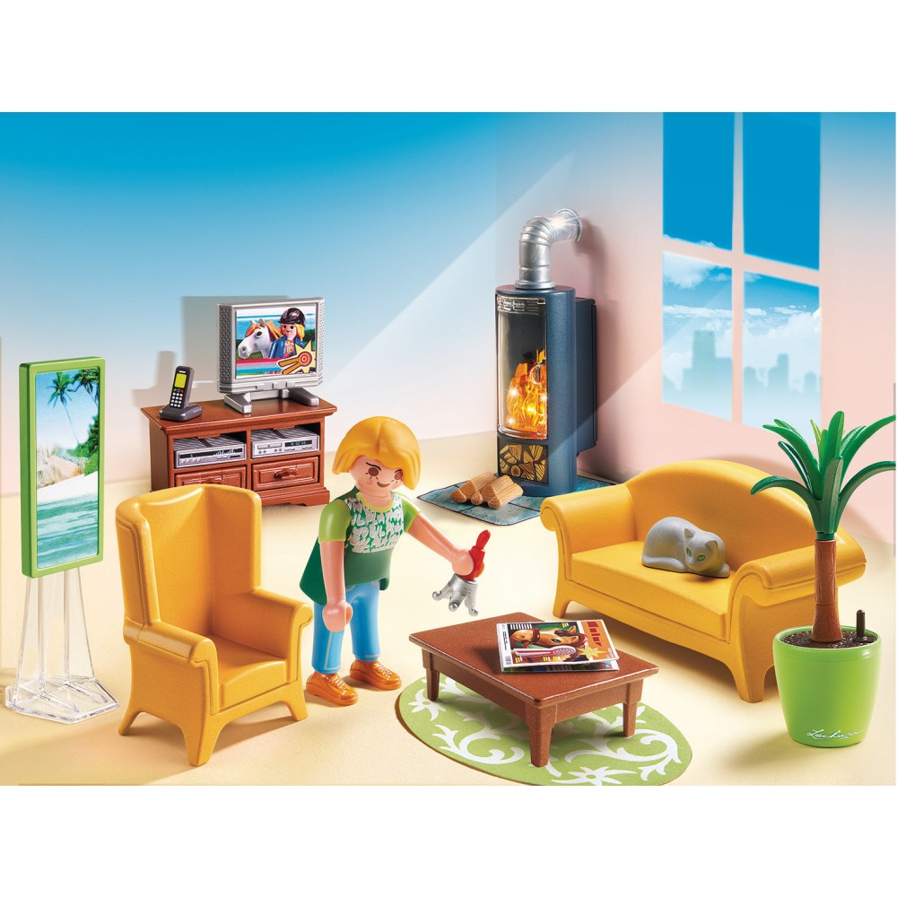 salon avec po le bois playmobil 5308 playmobil la maison traditionnelle playmobil. Black Bedroom Furniture Sets. Home Design Ideas