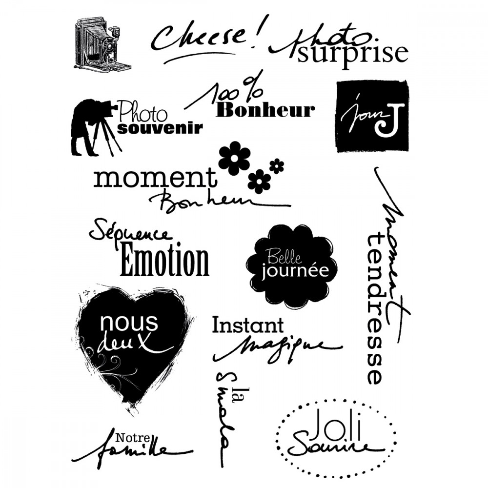15 Tampons Clear Stamp Souvenirs Tampons Encres