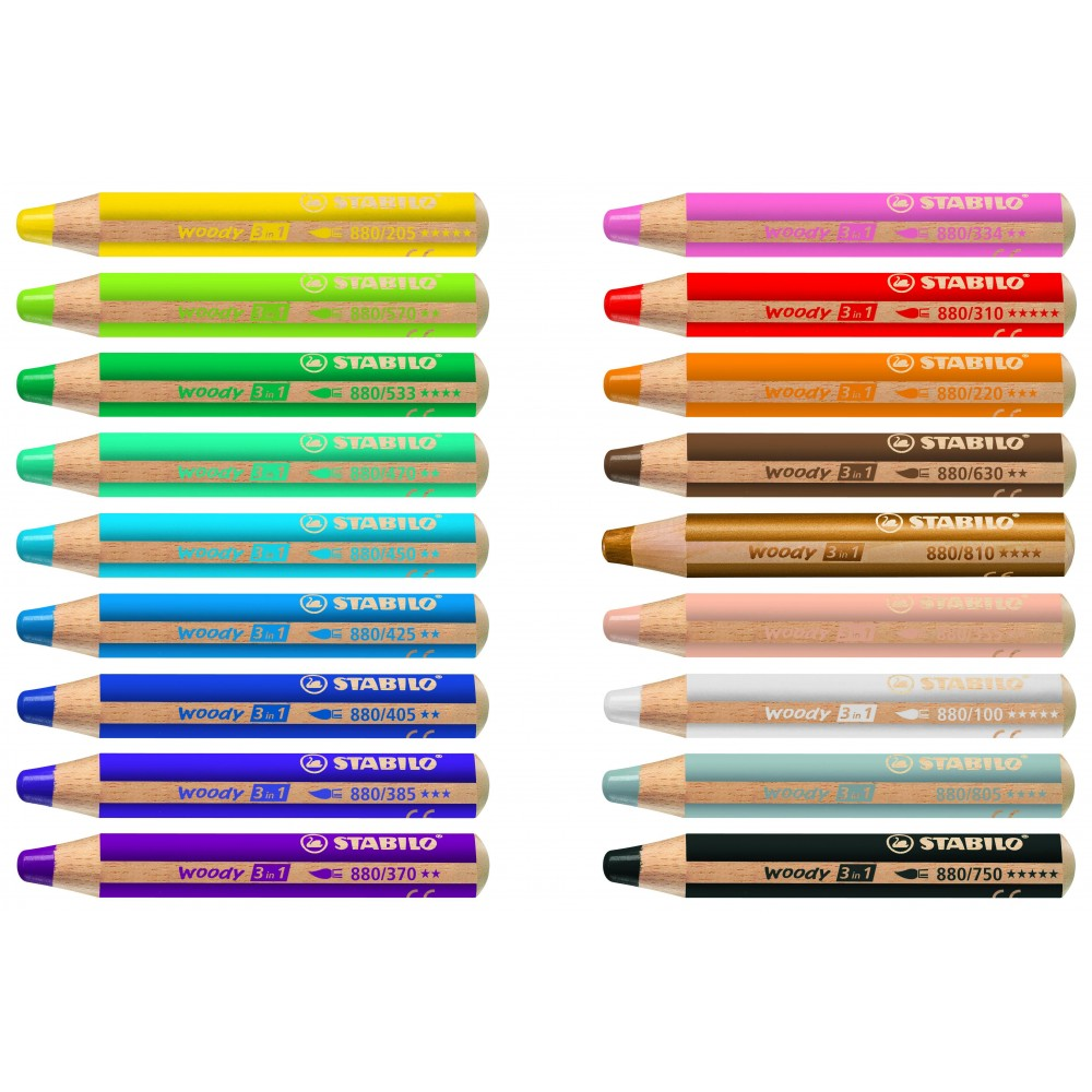 Crayon De Couleur Multi Talents Woody 3in1 Rose Fonce Dessin