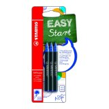 3 recharges Stabilo Easy Start 0.5mm - bleu