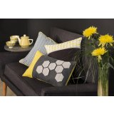 Yellow and Grey - Housse de coussin graphique