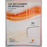 Lot de 5 cahiers de brouillon - 17x22 cm - 96 pages - 56gr