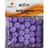 Set 50 pompons diamètre 20mm violet