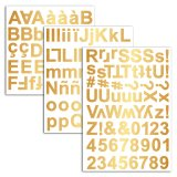 3 planches stickers alphabet chipboard - or