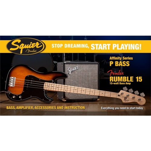 Squier - Pack basse P-Bass blonde + Fender Rumble 15