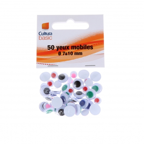 50 yeux ronds mobiles - 7 et 10 mm