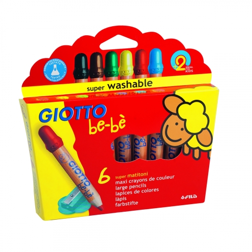 6 Maxi Crayons De Couleur Giotto Be Be Craies Et Crayons
