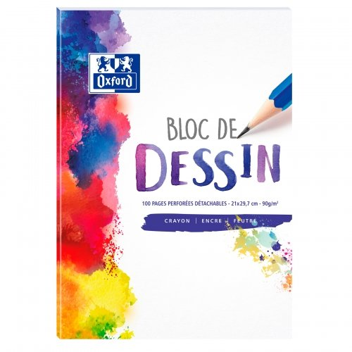 Bloc dessin Oxford School A4 - 100 pages perforées