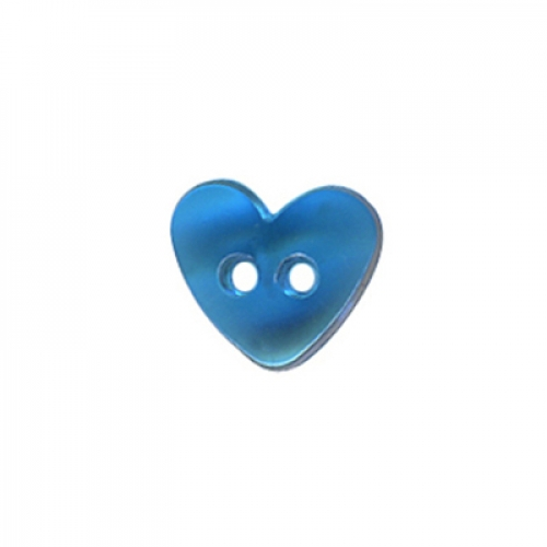 Bouton - coeur transparent bleu - 9mm