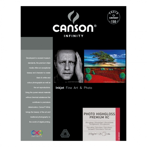 25 feuilles Photo HighGloss Premium - A4 - 315G - Canson Infinity
