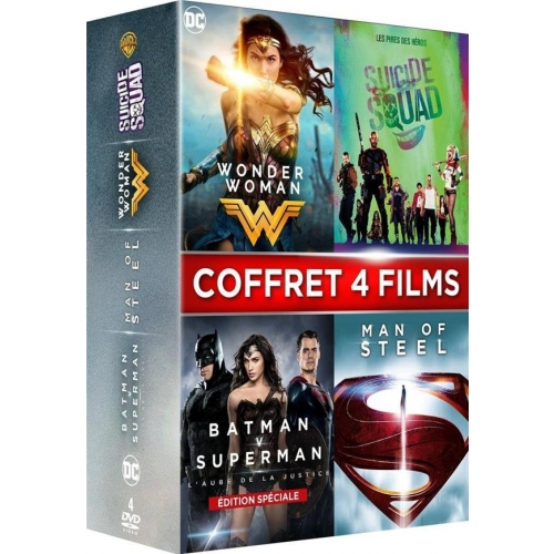 COFFRET SUPER-HEROS 4 FILMS : WONDER WOMAN  SUICIDE SQUAD  BATMAN VS SUPERMAN