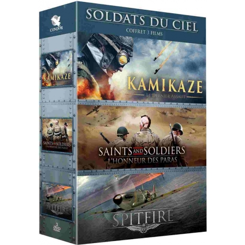 COFFRETS SOLDATS DU CIEL 3 FILMS : KAMIKAZE  SPITFIRE  SAINTS AND SOLDIERS 2,