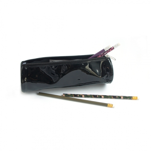 Trousse ronde simple glossy noir