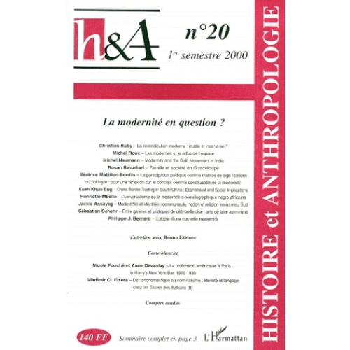 Histoire & Anthropologie n° 20 1er semestre 2000 : La modernité en question ?
