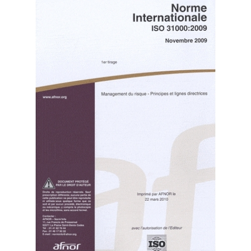 Norme internationale ISO 31000:2009 Management du risque - Principes et lignes directrices